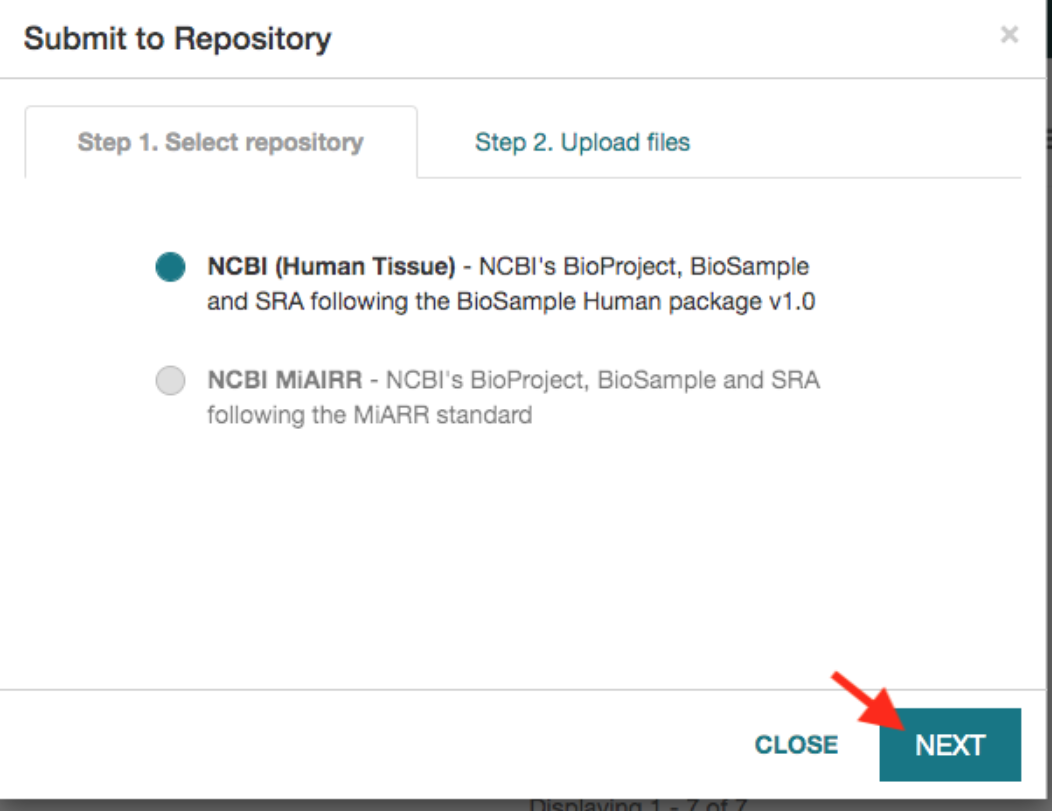 Submission to Repository window with NCBI Human Tissue selected as default