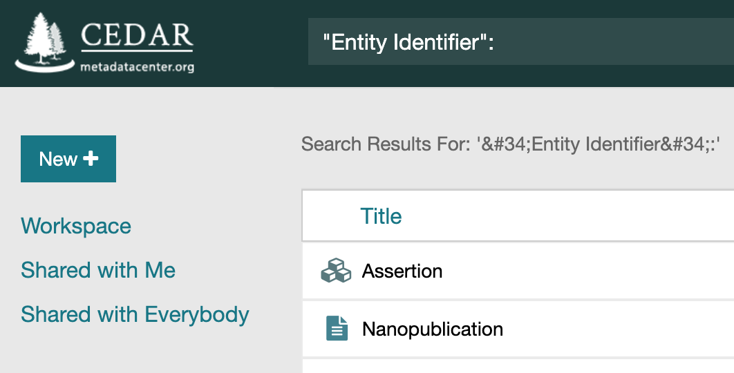 "Search for fields containing ""Entity Identifier"""